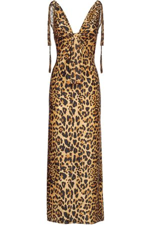 Paco rabanne Printed Shiny Viscose Jersey Long Dress