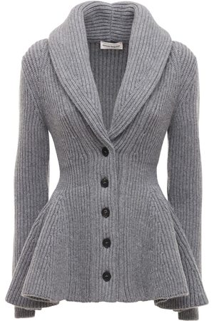 Alexander McQueen Wool Ribbed Knit Long Cardigan W/peplum