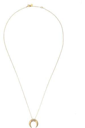 Feidt Paris Corne Lune halsband i 9K gult med safir