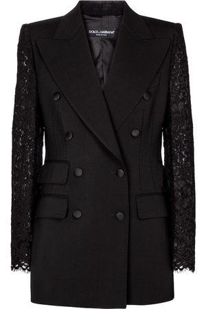 Dolce & Gabbana Lace-trimmed wool-blend blazer