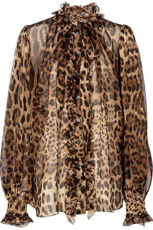 Dolce & Gabbana Leopard-print silk organza blouse