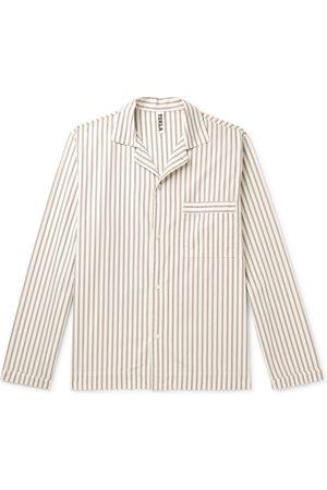 Tekla Camp-Collar Striped Organic Cotton-Poplin Pyjama Shirt