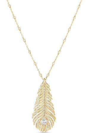 Boucheron Plume de Paon halsband i 18K gult med diamanthänge