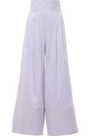 LUISA BECCARIA Striped Cotton Blend Wide Leg Pants