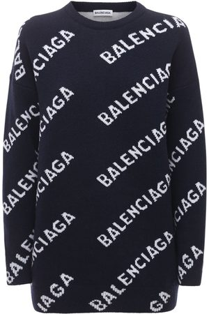 Balenciaga All Over Logo Wool Knit Crewneck Sweater