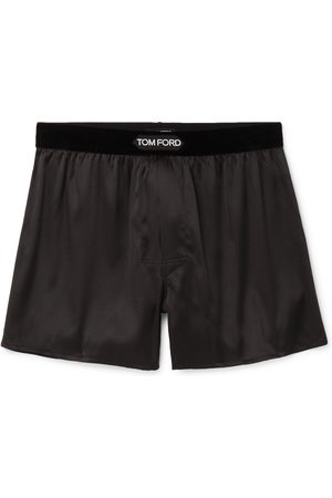 Tom Ford Man Kalsonger - Velvet-Trimmed Stretch-Silk Satin Boxer Shorts