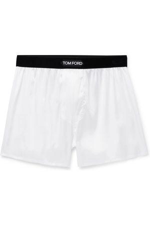 Tom Ford Velvet-Trimmed Stretch-Silk Satin Boxer Shorts
