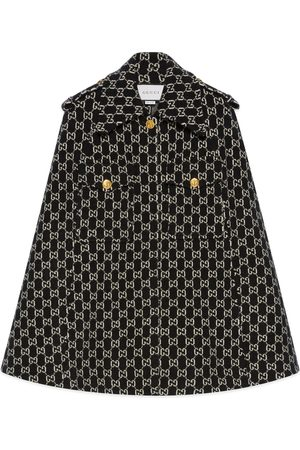 Gucci Felted wool cape with GG jacquard