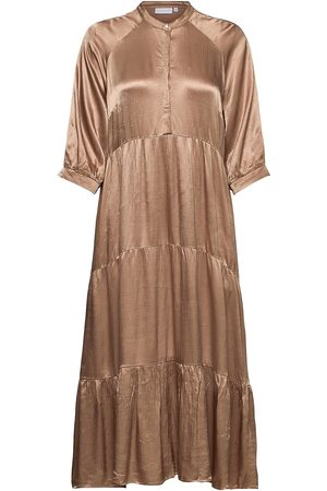 Coster Copenhagen Kvinna Maxiklänningar - Long Dress W. 3/4 Sleeves Knälång Klänning Beige