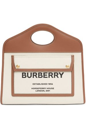 Burberry Kvinna Handväskor - Tvåfärgad totebag med logotyp