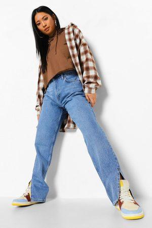 Boohoo Petite Side Split Hem Jean, Blue