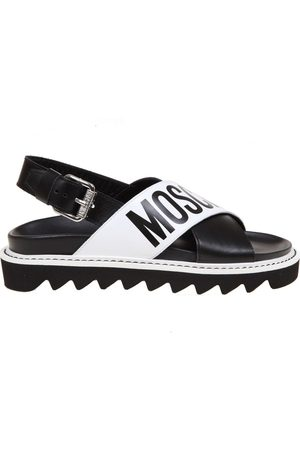 Moschino Sandal with crossed bands and logo