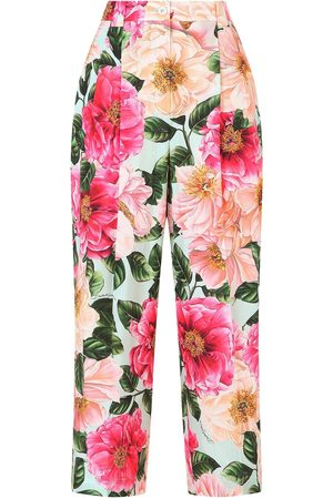 Dolce & Gabbana Floral-print cropped trousers