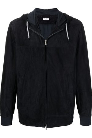Brunello Cucinelli Zip-up hooded leather jacket