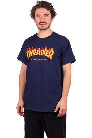Thrasher Man Kortärmade - Flame T-Shirt navy