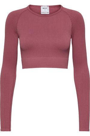 aim'n Kvinna Långärmade - White Ribbed Seamless Crop Long Sleeve Crop Tops Long-sleeved
