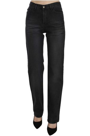 Roberto Cavalli Washed High Waist Straight Denim Pants Jeans