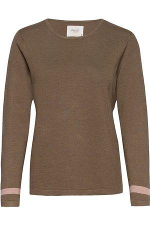 Pulz jeans Pzsara Pullover Stickad Tröja Brun