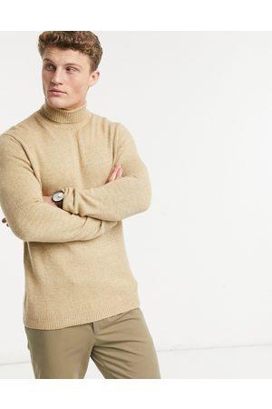 ASOS – Sandfärgad stickad polotröja i mjuk stickning-Ljusbrun