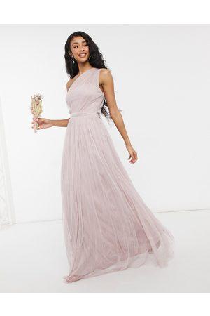 ANAYA With Love – maxiklänning i tyll med en bar axel för brudtärnor-Pink
