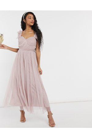 ANAYA With Love – midaxiklänning i tyll med volangprydda ärmar för brudtärnor-Pink