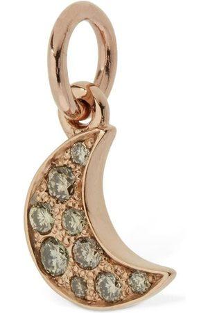 Dodo 9kt Rose Gold Luna Charm W/ Diamond