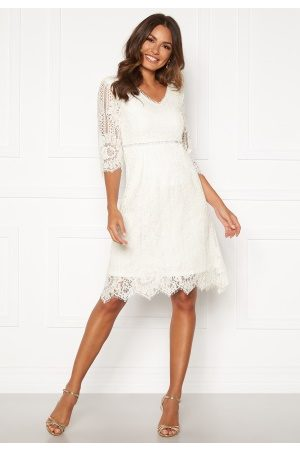 Happy Holly Kvinna Midiklänningar - Jenna lace dress White 40