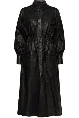 MDK / Munderingskompagniet Kvinna Midiklänningar - Lily Thin Leather Dress Knälång Klänning
