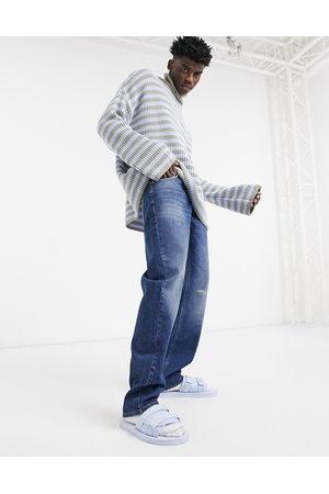 ASOS – Mörkblå 90-talstvättade jeans i original fit med slitna detaljer