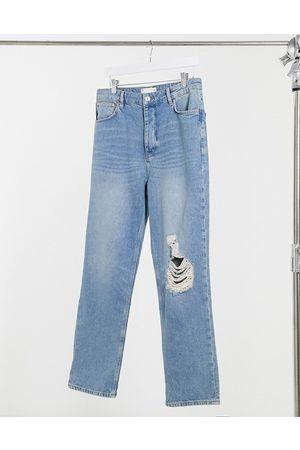 ASOS – Mellanblå vintageinspirerade dad jeans i 90-tals tvätt med knäreva