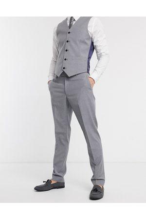 ASOS – Mellangrå kostymbyxor med smal passform-Marinblå
