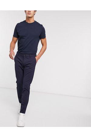 Only & Sons – Marinblå kritstrecksrandiga finbyxor med stretch