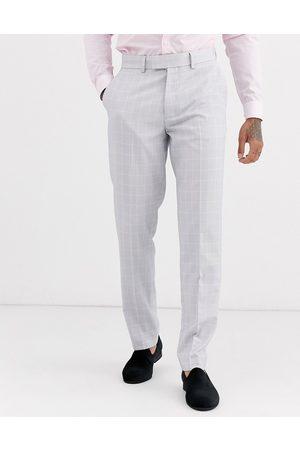 ASOS – Bröllop – Isgrå rutiga kostymbyxor med smal passform
