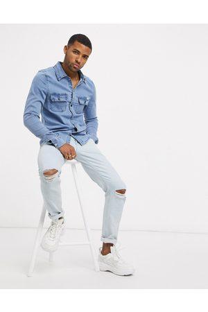Liquor N Poker – jeansskjorta i muscle fit