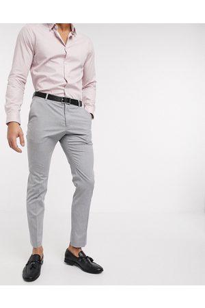Selected – Ljusgrå kostymbyxor med smal passform och stretch