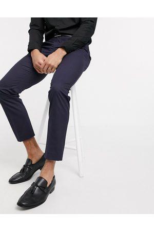 Selected – Marinblå kostymbyxor med smal passform och stretch
