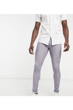 ASOS Tall – Bröllop – Mörkgrå, rutiga kostymbyxor med supersmal passform