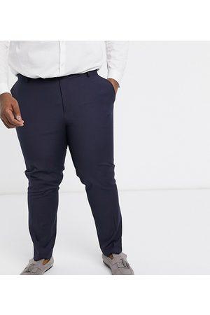 ASOS – Plus – Marinblå kostymbyxor med smal passform