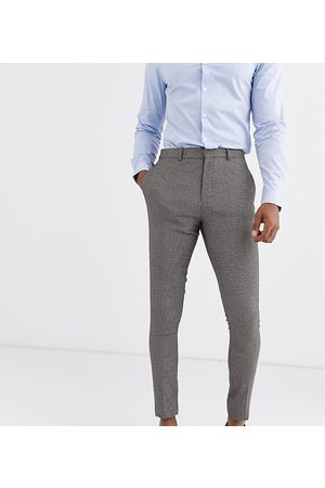 ASOS Tall – Bröllop – Ljusbruna kostymbyxor i mikrotextur med supersmal passform-Guldbrun