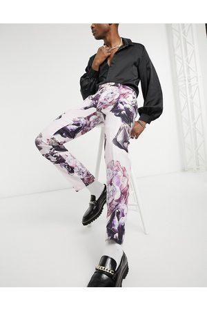 Twisted Tailor – Dimrosa kostymbyxor i linnetyg med blommönster och smal passform