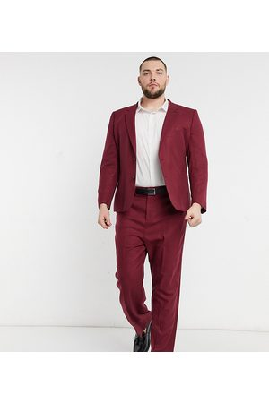 ASOS Plus – Vinröda kostymbyxor i twill med vida ben