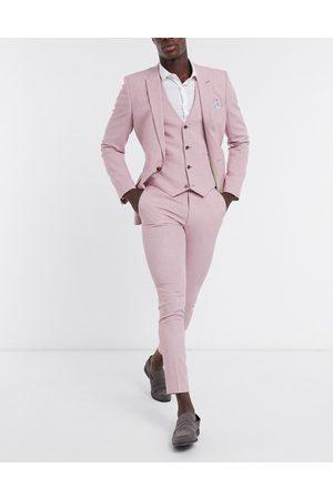 ASOS Wedding – kostymbyxor med supersmal passform och crosshatch-mönster