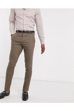 ASOS Wedding – Kamelfärgade, fiskbensmönstrade kostymbyxor i ullblandning med extra smal passform