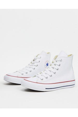 Converse – Chuck Taylor – All Star – Vita sneakers i läder med höga skaft