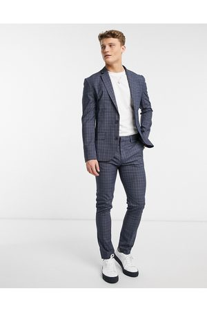 New Look – , rutiga kostymbyxor med extra smal passform