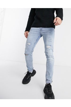 Jack & Jones Intelligence – Liam – Slitna, superstretchiga skinny jeans i ljus tvätt