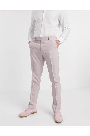 ASOS Wedding – , crosshatch-mönstrade kostymbyxor med extra smal passform