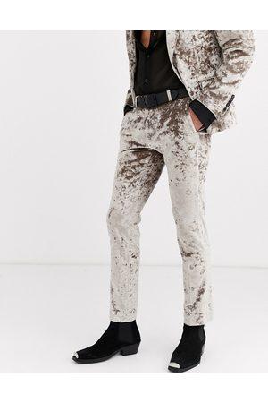 Twisted Tailor – Champagnefärgade kostymbyxor i sammet