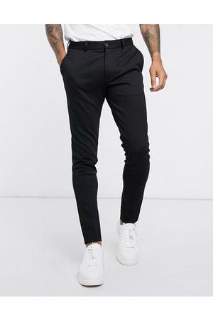 Jack & Jones Intelligence – Svarta byxor i jersey med smal passform