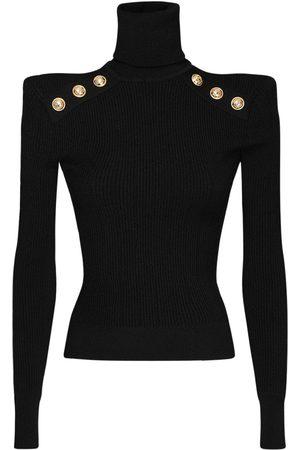 Balmain Viscose Blend Turtleneck Knit Sweater